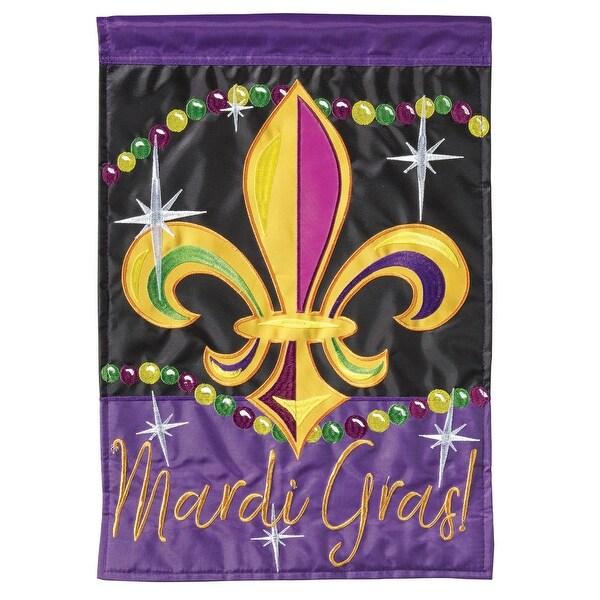 "Purple and Yellow Fleur De Lis Rectangular Garden Flag 18"" x 13"" - N/A"