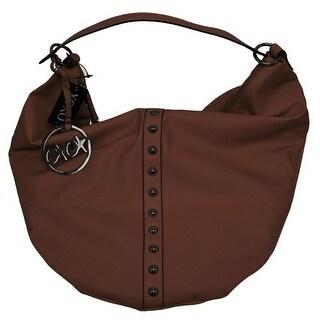 XOXO Hobo Style Studded Purse Hot Vinyl Handbag, Brown