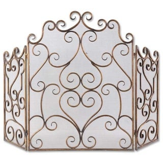 "36"" Gold and Bronze Fireplace Screen with Hand Forged Iron Scrolling Design"