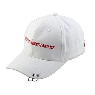 Unisex Cotton Blends Letters Pattern Exercise Baseball Cap Hat Visor White