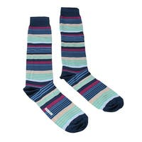 Missoni GM00CMU4952 0002 Blue/Green Striped Knee Length Socks - M