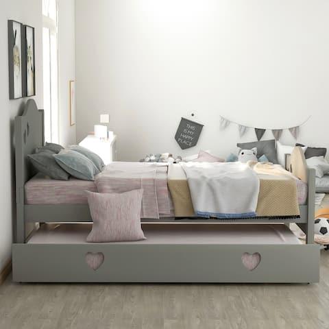 Kid platform bed with trundle, loving shape, Gray