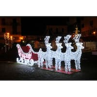 13' Pre-Lit Commercial Size 3D Reindeer and Sleigh Christmas Outdoor Decoration - White
