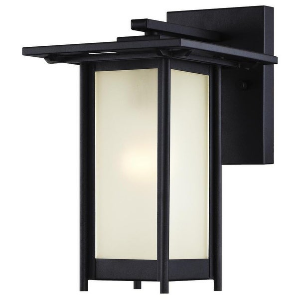Westinghouse 6203800 Clarissa Outdoor Wall Sconce with 1-Light with Frosted Glass - Textured Black - N/A