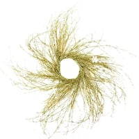 """63"""" Pre-lit Gold Glittered Artificial Twig Christmas Wreath-Warm White LED Lights"""