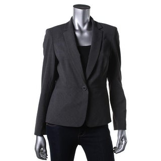 Anne Klein Womens Petites Wool Blend Notched Lapel One-Button Suit Jacket - 4P