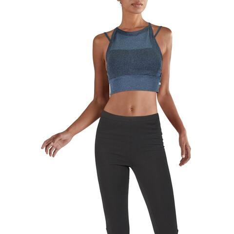 Reebok Womens MyoKnit Sports Bra Medium Support Fitness - Blue Hills/Black