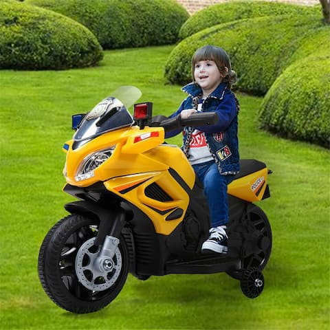 Kids Ride Motorcycle 6V Battery Powered Electric Toy Police Car - 8' x 11'