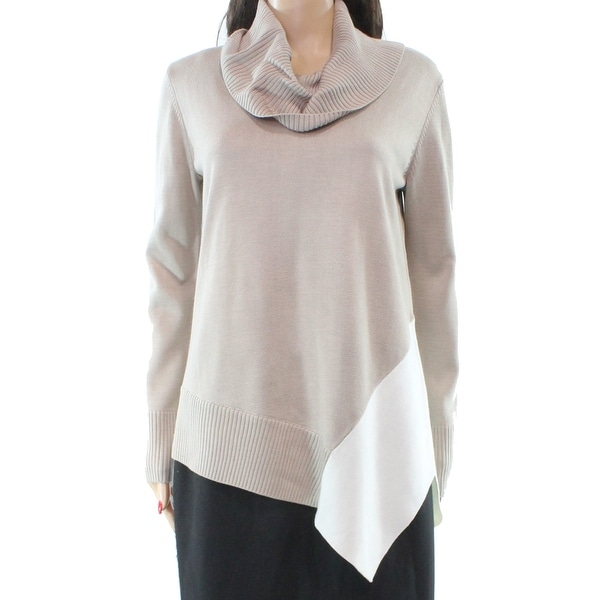 64241d9070 Shop Calvin Klein NEW Beige Womens Size Large L Colorblock Cowl Neck Sweater  - Free Shipping On Orders Over  45 - Overstock - 20544839