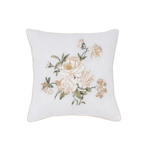 Nostalgia Home Juliette 16-Inch Square Embroidered Decorative Pillow