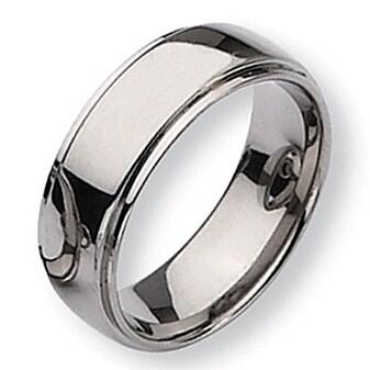 Chisel Ridged Edge Polished Titanium Ring (8.0 mm)