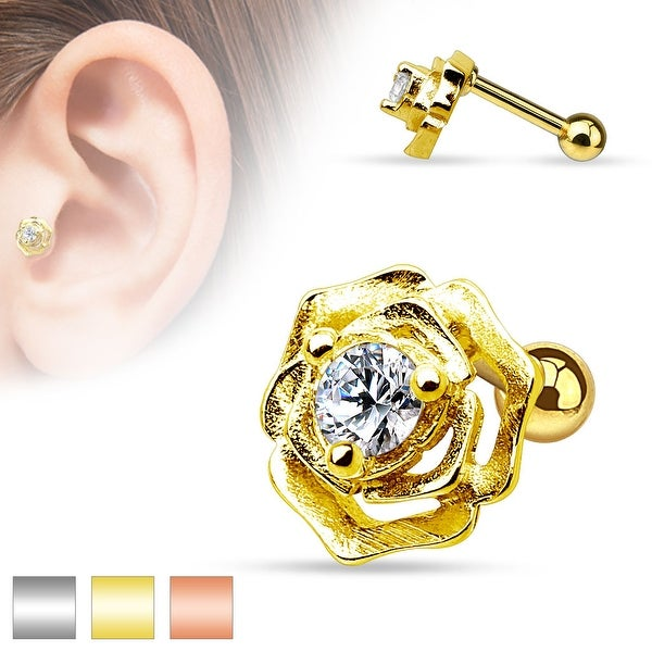 CZ Centered Flower 316L Surgical Steel Cartilage/Tragus Barbell (Sold Ind.)
