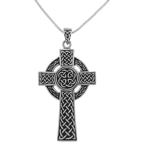 Sterling Silver Large Celtic Circle of Life Cross Pendant