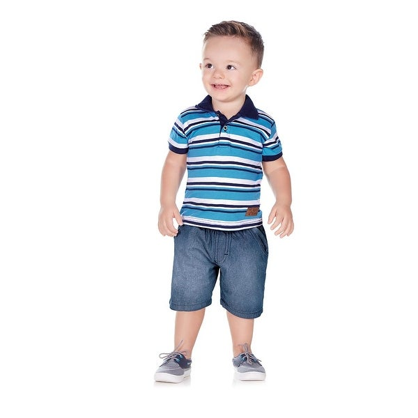 Pulla Bulla Baby Boy Striped Polo Shirt Short Sleeve Tee