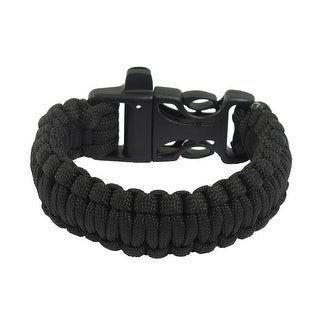 Unique Bargains Outdoor Activities Practical Whistle Plastic Buckle Black Survival Bracelet