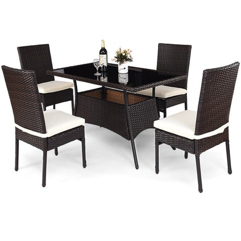 Costway 5 Piece Outdoor Patio Furniture Rattan Dining Table Cushioned Chairs Set