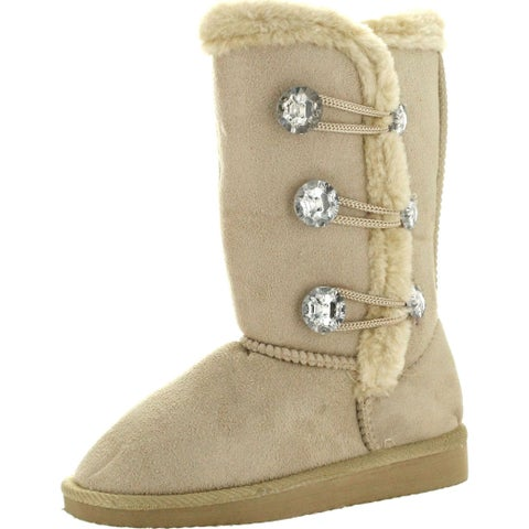 """Static Girls Toddler Fashion 7"""" Microsuede Boots With Jewels And Faux Fur"""