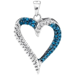 Heart Pendant 10K White-gold With Blue Diamonds 0.2 Ctw By MidwestJewellery