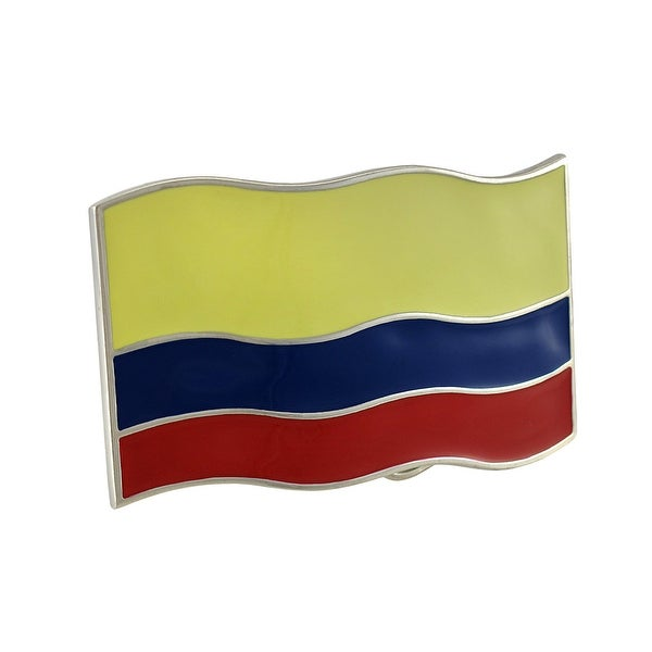 Columbian Flag Chrome / Enamel Belt Buckle Columbia