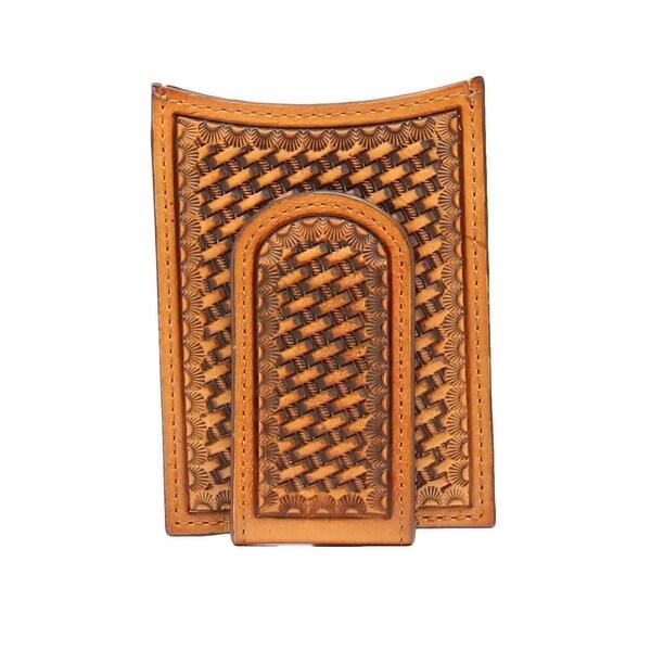 Nocona Western Wallet Mens Money Clip Magnetic Weave Tan - One size
