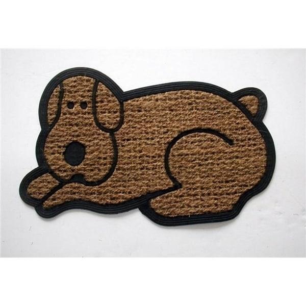 Geo Crafts G115 DOG 18 x 30 in. PanamaTuffcor Rubber Back Animal Shaped Flat Weave Doormat