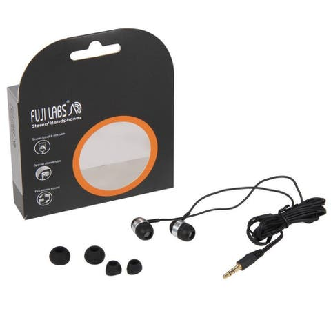 Fuji Labs FJ-IPOD-E3220 Pro Stereo Silicon Acoustic Noise Isolation Earphone  Black (10 Pack, 25 Pack, 50 Pack, 100 Pack)