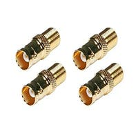 4 Pack Monoprice 104123 BNC Female to F Female Adaptor, Gold Plated