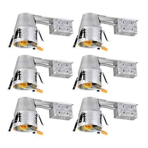 """6 Pack 4""""Remodel Can, Air Tight IC Housing, TP24 Connector for LED Recessed Retrofit Kit"""