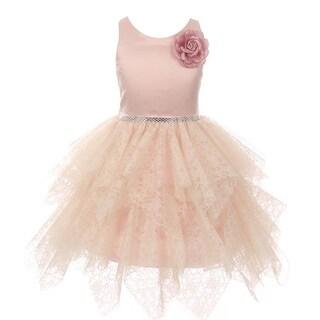Kiki Kids Girls Blush Floral Accent Lozenge Junior Bridesmaid Dress (3 options available)