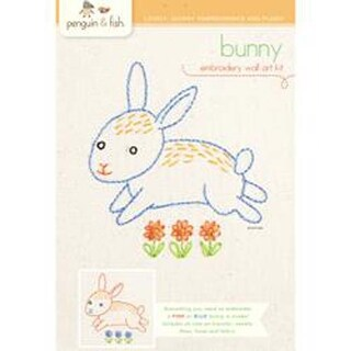 "Bunny - Penguin & Fish Embroidery Kit 8"" Round Stitched In Floss"