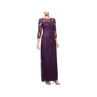 Alex Evenings Womens Evening Dress 3/4 Sleeves Full-Length