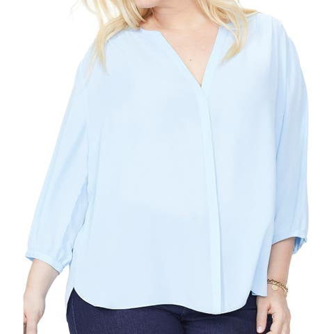 NYDJ Womens Blouse Sky Blue Size 3X Plus Pintuck Button Front V Neck