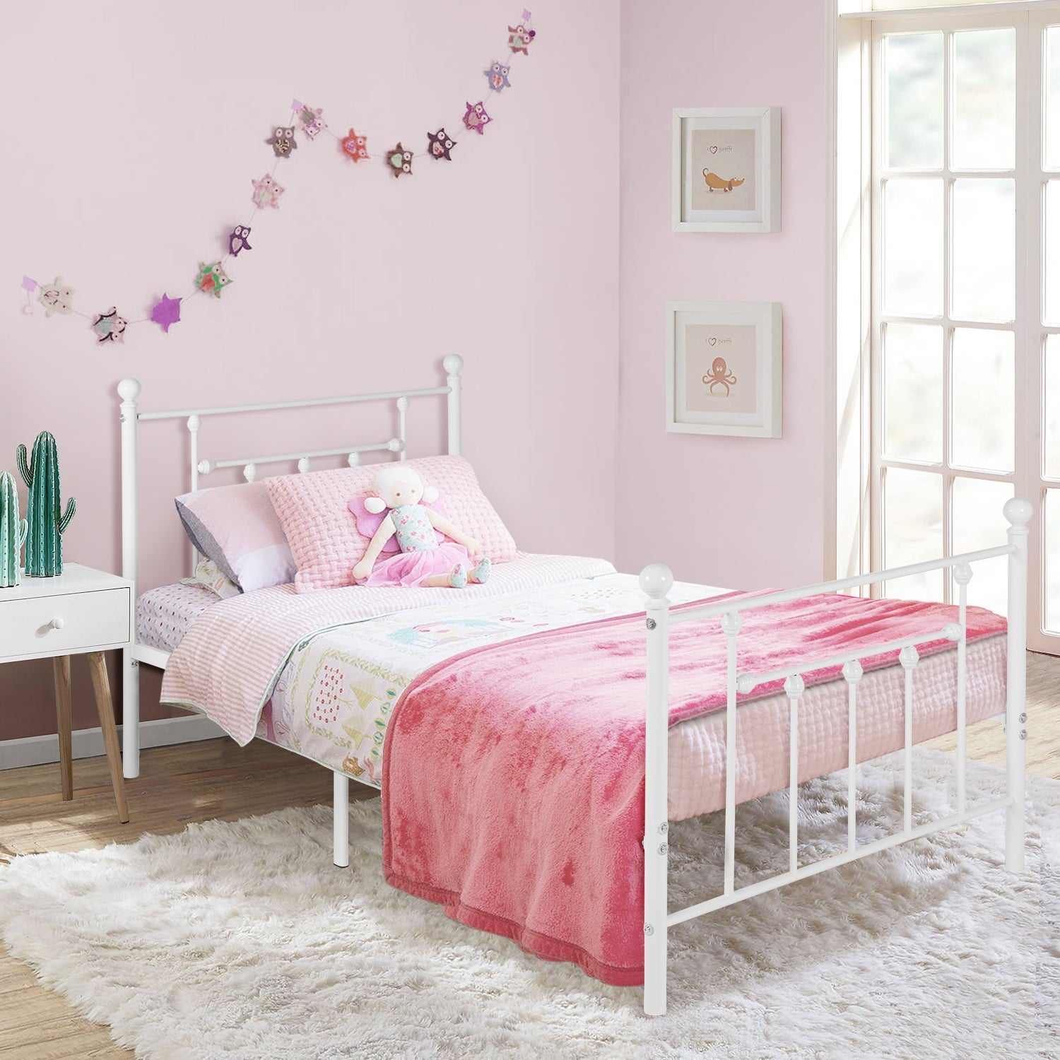 Picture of: Vecelo Vintage Line Metal Bed Frame White Twin Full Queen Size 3 Opotion On Sale Overstock 29875431