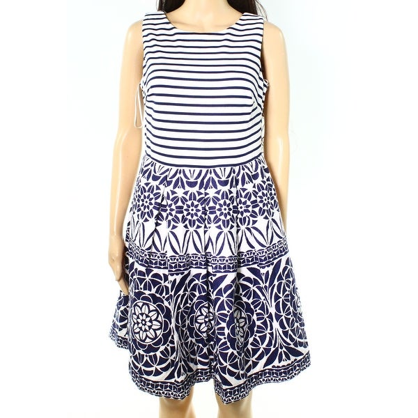 335703e205b Shop Taylor NEW Blue Navy Womens 6 Scoop-Neck Sheath Striped Printed Dress  - Free Shipping On Orders Over  45 - Overstock.com - 18619762