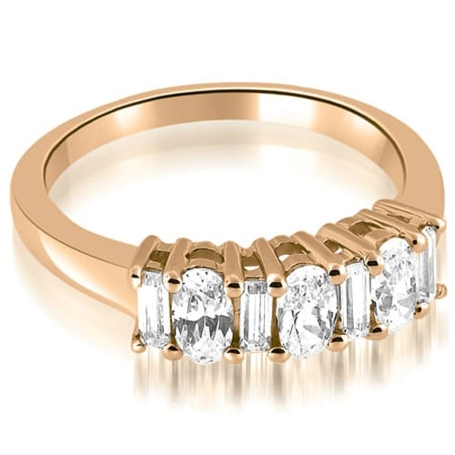 1.10 cttw. 14K Rose Gold Oval and Baguette Cut Diamond Wedding Band