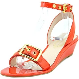 Elie Tahari Maddie Women Open Toe Patent Leather Orange Wedge Sandal