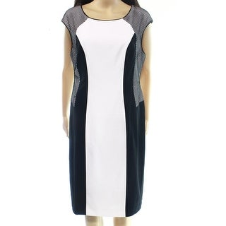 Calvin Klein NEW Black White Colorblocked Womens 14 Mesh Sheath Dress