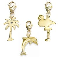 Julieta Jewelry Dolphin, Palm Tree, Flamingo 14k Gold Over Sterling Silver Clip-On Charm Set