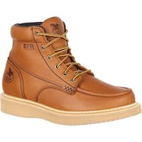 "Georgia Boot Men's GB00177 6"" Moc-Toe Wedge Work Boot Barracuda Gold Full Grain Leather"