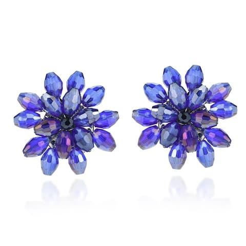 Handmade Dazzling Chrysanthemum Floral Crystal Clip On Earrings (Thailand)