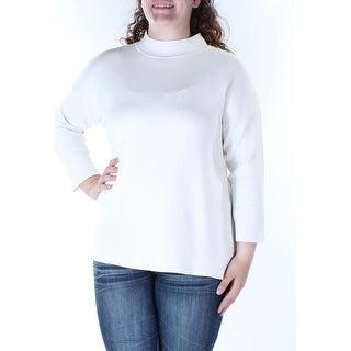 Womens Ivory 3/4 Sleeve Turtle Neck Hi-Lo Sweater Size XL
