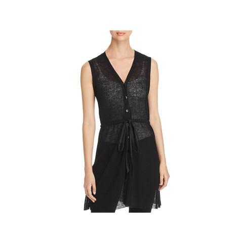 Eileen Fisher Womens Casual Vest Organic Linen Knit