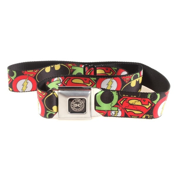 DC Comics The Justice League Stacjed Logos Seatbelt Belt-Holds Pants Up