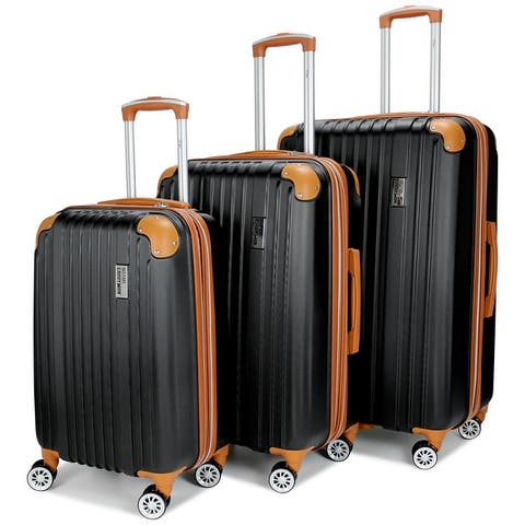 Miami CarryOn Collins 3 Piece Expandable Retro Spinner Luggage Set