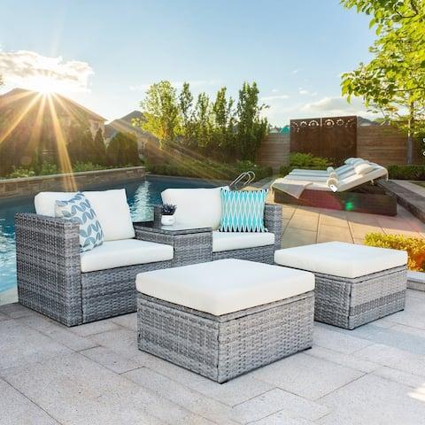 Nestfair 5-Pieces Wicker Patio Conversation Set with Cushions