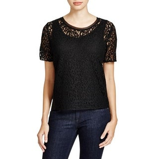 T Tahari Womens Marley Pullover Top Lace Panel