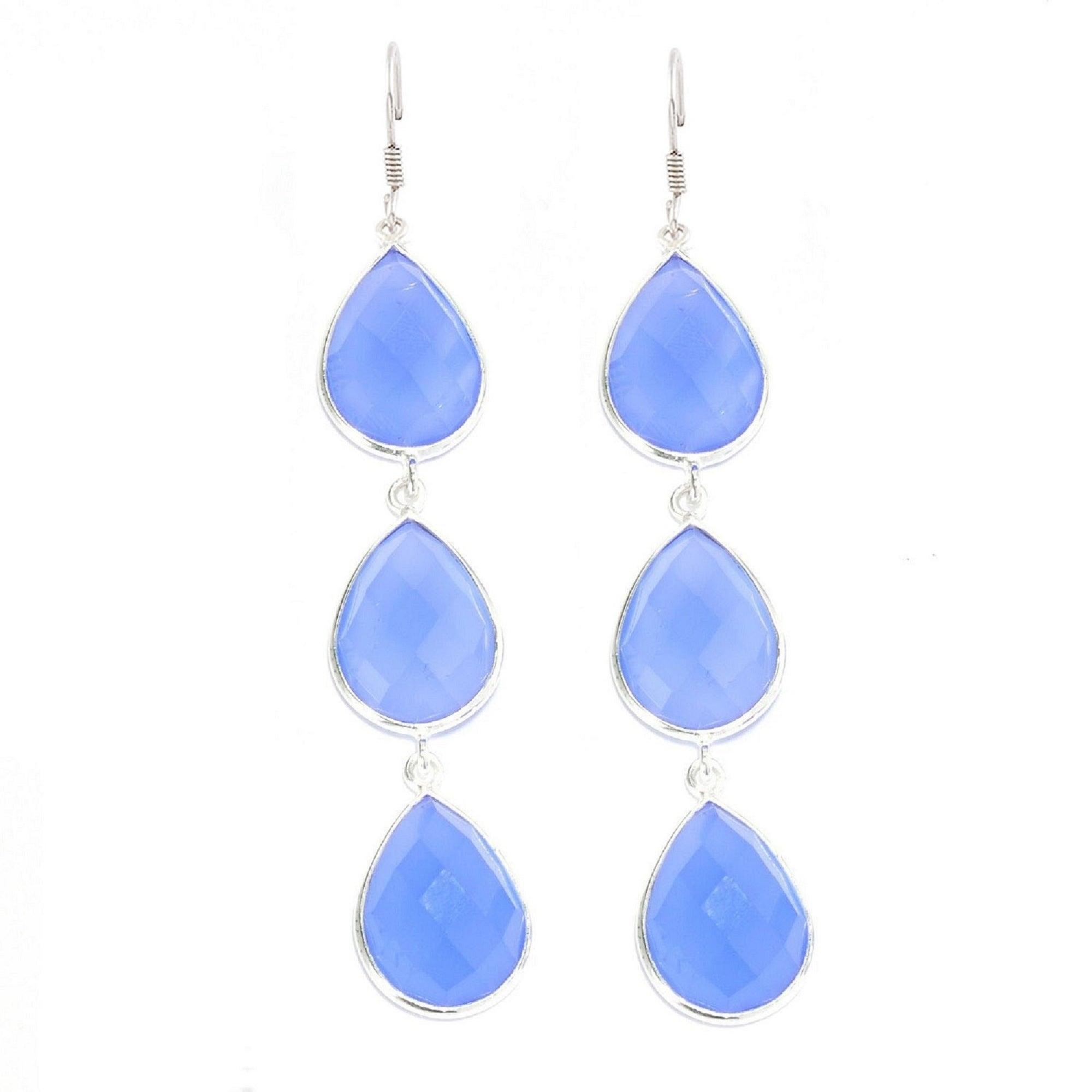 Pretty Vintage Style Blue /& Black Long Drop Dangly Earrings Chalcedony Hematite
