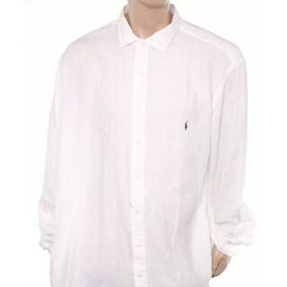 Polo Ralph Lauren NEW White Mens Size 3XLT Tall Linen Button Down Shirt