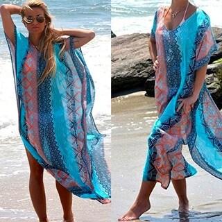 Bluish Summer Mermaid Maxi Cover Up