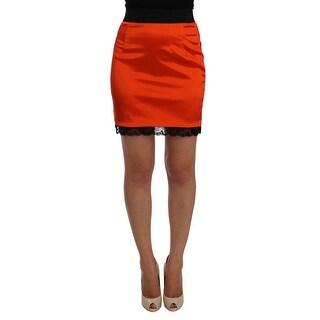 Dolce & Gabbana Dolce & Gabbana Orange Black Lace Pencil Skirt